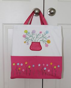 My new Ten Pocket Tote with Buttons in Bloom embroidery Bloom, Buttons, Embroidery, Pocket, Patterns, Block Prints, Needlepoint, Pattern, Models