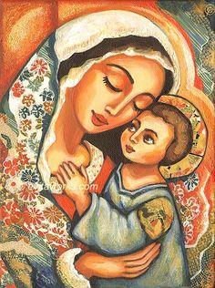 Icon Religious Painting Mary and Jesus Maternity Nativity Christmas - The Blessed Mother - Art Print 9.5x13. $16.00, via Etsy.