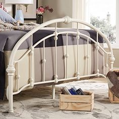 Amazon.com: White Antique Vintage Metal Bed Frame in Rustic Wrought Cast Iron Curved Round Headboard and Footboard Victorian Old Fashioned Bedroom Furniture Kit Mattress Bedding Not Included (Queen): Kitchen & Dining