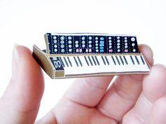 Moog Wooden Pin @Sue Gifford Folk $15.00 #handmade #brooch #pin #accessory #moog #keyboard #retro #music #instrument