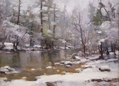 River and Snow by Jim McVicker Oil ~ 9 x 12