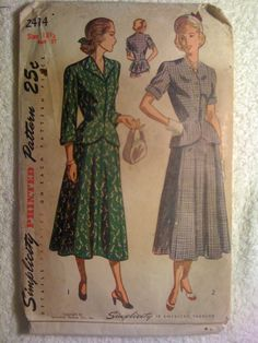 Simplicity 2414 Sewing Pattern 1940s Misses' and by SplashOfLuv