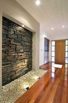 Awesome Magnetic Interior Walls Designed With Stones : Minimalist Front Room Design  With Wooden Floor Decoration And Interior Stone Wall
