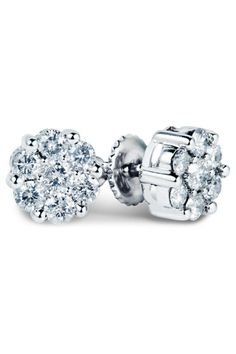 Bijoux Majesty 0.55 ct Multi-Stone Diamond Earrings In 14k White Gold