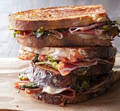 Be sure to balance bold notes. In this pulled-back panino, Kuziemko uses a sharp provolone to cut the fat and the slightly sweet flavor of the copper, and honey to temper the spicy-bitter broccoli rabe pesto.