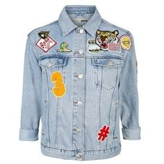 TopShop Petite Denim Badge Jacket