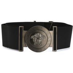Versace Wide Military Medusa Belt ($729) ❤ liked on Polyvore featuring accessories, belts, black, versace, wide elastic belt, versace belt, military style belt and elastic belt