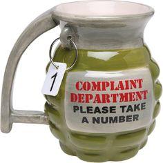Complaint Department Grenade Ceramic Coffee Mug   tea cup complaints