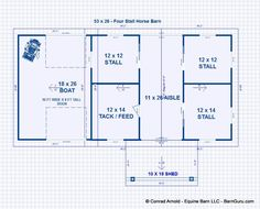 Barn plans 4 stall horse barn living quarters design for Barn plans with living area