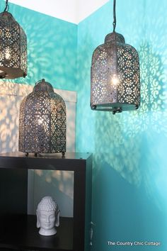 Simple and pretty Moroccan lanterns. #Moroccan #Lanterns #interiors #interiordesign #Decor #Moroccandecor #Lighting.