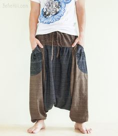 Baggy Harem Hindu Om Pattern Textured Cotton Aladdin Unisex Pants Hobo Style (2 colors)