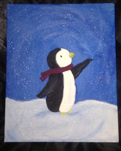 Acrylic on canvas, penguin painting. Second attempt on blending colors