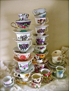 Pile Of Teacups Wood Print featuring the photograph Stacks Of Spring Teacups by Nancy Patterson Tea Room Decor, Teapots And Cups, Teacups, Vintage Tea Parties, Alice In Wonderland Tea Party, Tea Tins, Tea Party Birthday, Tea Art, My Cup Of Tea