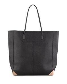 Prisma Leather Tote Bag, Black/Rose Gold by Alexander Wang at Bergdorf Goodman.