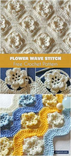 Flower Wave Stitch Free Crochet Pattern #freecrochetpatterns #stitch #crochetflowers