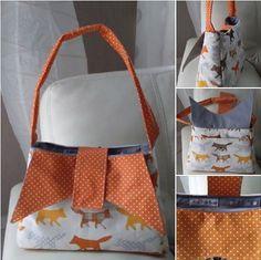 Un #sac Ava par Mag'Créations à pois et renards en balade.   #patron de #couture Sacôtin.