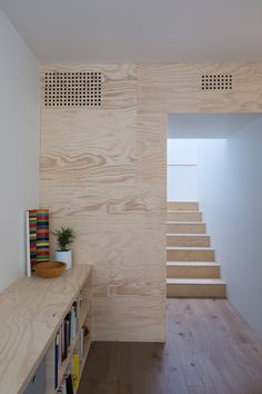 Self-built Austin home by Sean Guess is clad in hide-like cement panels Cladding Panels, Timber Cladding, Plywood Interior, Interior Walls, Plywood Wall Paneling, Austin Homes, Wood Interiors, Cabin Interiors, Interior Architecture