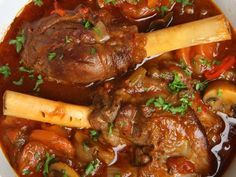 This lamb shank stew recipe is cooked slow and on low and produces a tender meat stew. Lamb Shank Stew Recipe from Grandmothers Kitchen. Meat Recipes, Cooking Recipes, Healthy Recipes, Cooking Bacon, Crockpot Recipes, Chicken Recipes, Recipies, Lamb Shanks Pressure Cooker, Lamb Shank Recipe Pressure Cooker