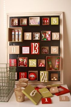 Advent Calendar - different.love this advent calendar,easy to do and fun to put a different surprise in every box. Christmas Countdown, Noel Christmas, All Things Christmas, Winter Christmas, Nordic Christmas, Modern Christmas, Christmas Stockings, Christmas Calendar, Christmas Projects