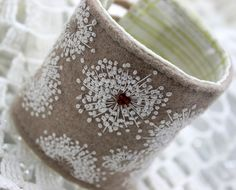 Anne's Lace Embroidered Wool Cuff Queen Anne's Lace Embroidered Wool Cuff Felted wool cuff embroidered with Queen Anne's Lace.Queen Anne's Lace Embroidered Wool Cuff Felted wool cuff embroidered with Queen Anne's Lace. French Knot Embroidery, Ribbon Embroidery, Embroidery Stitches, Embroidery Patterns, Textile Jewelry, Fabric Jewelry, Textiles, French Knots, French Cuff