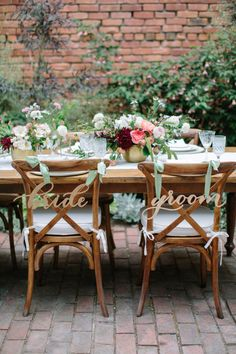 Wood Laser Cut Calligraphy Bride and Groom Chair Signs