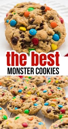 Soft and Chewy Monster Cookies - peanut butter and oatmeal cookies chocked full of chocolate chips and M&M's, so many delicious flavors in one soft and chewy cookie.  This soft-baked cookie is so easy to make and so yummy to eat! Pin this yummy Monster Cookie Recipe for later and and follow us for more great Cookie Ideas. #Cookies #MonsterCookies #EasyCookies #CookieRecipes #CookieIdeas Soft Baked Cookies, Roll Cookies, Oatmeal Cookies, M&m Cookie Recipe, Sugar Cookies Recipe, Yummy Cookies, Peanut Butter Desserts, Chocolate Desserts, Chocolate Chips