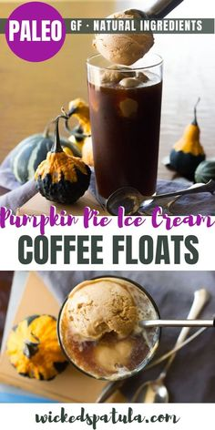 Paleo Pumpkin Pie Ice Cream Coffee Floats - This dairy free Paleo Pumpkin Ice Cream Coffee Float is perfect for early fall days! Pumpkin Ice Cream, Coffee Ice Cream, Ice Cream Pies, Best Gluten Free Recipes, Paleo Recipes Easy, Gluten Free Desserts, Paleo Coffee, Paleo Pumpkin Pie