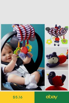 Baby Stroller Pendant Plush Fish Cartoon Mirror Pacifier Hanging Bed Cute Toys Soft Squeaky Rattle Newborn Sleeping Infant Drip-Dry Activity & Gear