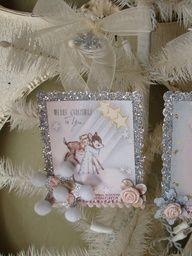 Shabby Chic Christmas Vintage Card ornament cute angels and deer ...