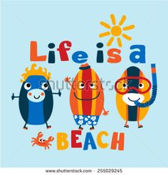 Three funny surf boards graphic. Vector illustration