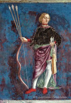 """The third Decan of Gemini: """"A man garbed with a cuirass holding a bow and arrows, and a quiver. And this is a face of boldness, honesty, and the division and alleviations of labor. Salone dei Mesi in Palazzo Schifanoia. Medieval Archer, Medieval Art, Roman Gods, Roman Art, 15th Century, Illuminated Manuscript, Art Boards, Zodiac Signs, Italia"""