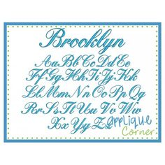 Brooklyn Embroidery Font