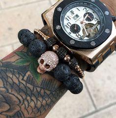 Mcllroy Arrival Diy Trendy Skull Charm Bracelets For Men High Quality Black CZ Northskull Men Bracelets Lava Stone Jewelry Gift Bracelets For Men, Bangle Bracelets, Bracelet Watch, Bangles, Stone Beads, Stone Jewelry, Beaded Jewelry, Skull Bracelet, Stone Bracelet