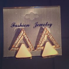 """Selling this """"Gold and White Stacked Triangle Earrings"""" in my Poshmark closet! My username is: mariellelauren. #shopmycloset #poshmark #fashion #shopping #style #forsale #Jewelry"""