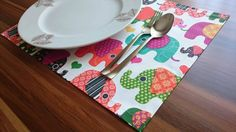 Set of 4 Colorful Elephant Placemats Handmade by prettysurprise