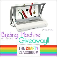 Win a Binding Machine!!  Great for homeschool eBooks and teaching resources.  Hurry, ends 7/3/2-15