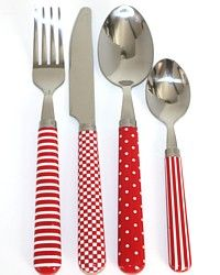 what if i dipped grandpa's silverware in blue and then created polka dots and stripes