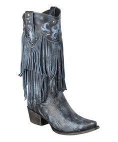 Look what I found on #zulily! Smoke Fringe Santa Rosa Leather Cowboy Boot by Lane Boots #zulilyfinds