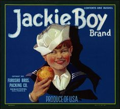Jackie Boy Brand: Furuso Bros. Packing Co., Sebastopol, California, produce of U.S.A. by Boston Public Library, via Flickr