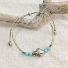 beach anklet Sea inspired anklet with Tibetan silver and aqua jade beads on waxed cord. sliding bead closure. hard wearing waxed cord. one size fits all.