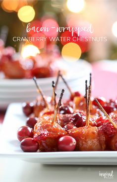 These Cranberry Bacon-Wrapped Water Chestnuts are an essentail Christmas appetizer recipe! Bacon Wrapped Appetizers, Recipes Appetizers And Snacks, Finger Food Appetizers, Finger Foods, Party Recipes, Dip Recipes, Yummy Recipes, Bacon Wrapped Water Chestnuts, Buffet