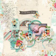 """Template """"Cherry garden"""" de Tinci designs  https://store.gingerscraps.net/Cluster-and-colors-Cherry-garden.html avec le kit """"Little moments"""" de KCB"""
