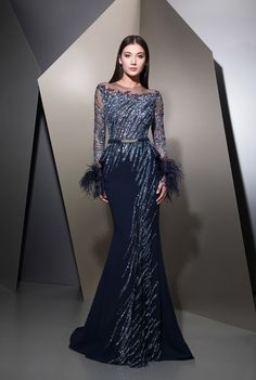Ziad Nakad 2019 Mermaid Evening Dresses Feather Beads Sequins Long Sleeve Prom Gowns Plus Size Customized Formal Party Dress Evening. Evening Dresses Melbourne, Evening Dresses Plus Size, Mermaid Evening Dresses, Evening Gowns, Prom Dresses, Formal Dresses Long Plus Size, Designer Evening Dresses, Evening Party, Long Dresses