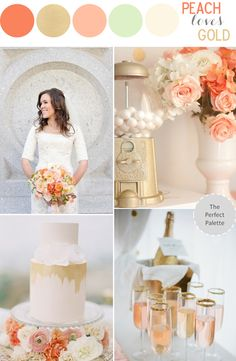 Looking for your wedding color palette? The Perfect Palette wants to help! The Perfect Palette is dedicated to helping you see the many ways you can use color to bring your wedding to life. Gold Wedding, Dream Wedding, Wedding Day, Wedding Summer, Trendy Wedding, Wedding Themes, Wedding Decorations, Wedding Cakes, Peach Love
