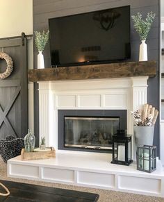 Is your fireplace dated and in need of a refresh? Check out this fireplace makeover. The before and afters are amazing! fireplace surround farmhouse Fireplace Makeover from Contemporary to Modern Farmhouse - Repurpose Life Build A Fireplace, Home Fireplace, Fireplace Remodel, Fireplace Surrounds, Living Room With Fireplace, Fireplace Design, Fireplace Ideas, Simple Fireplace, Fireplace Update