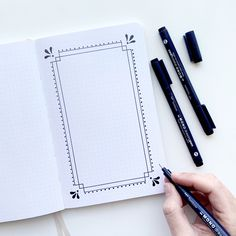 3 Easy Rectangle Borders For Your Journal Archer and Olive I love creating simple and beautiful borders in my Archer and Olive Dot Grid Notebooks the grid makes it SUPER easy to draw a border that s even and symmetrical Doodle Bullet Journal, Bullet Journal Banner, Bullet Journal Ideas Pages, Bullet Journal Inspiration, Page Borders Design, Border Design, Doodle Borders, Doodle Patterns, Drawing Borders