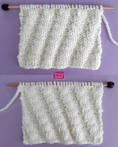The Diagonal Spiral Rib Knit Stitch is a reversible pattern. Here are the right and wrong sides. With just knits and purls, it looks like more complicated cabling. Get your free knitting pattern and chart by Studio Knit. #StudioKnit #knittingstitches #knitstitchpattern #howtoknit #beginnerknitting