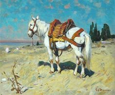 Cheval Arabe bord de mer von Edouard Edmond Doigneau