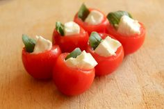 Easy Canapes - Tomato, Basil and Goats Cheese