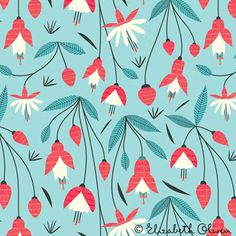 Repeat Pattern: Red and White fuchsia flowers on blue background -- print & pattern: DESIGNER - elizabeth olwen
